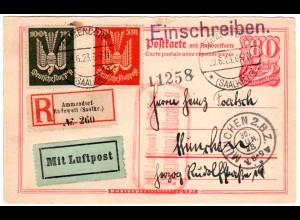 DR 1923, 5+100 Mk Flugpost auf Luftpost Einschreiben Karte v. Ammendorf-Radeweil