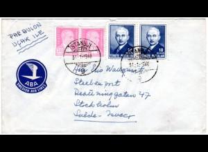 Türkei 1948, 4 Marken auf Luftpostbrief n Schweden m. Label ABA Swedish Airlines
