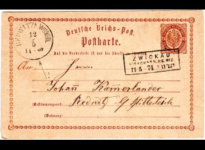 DR 1874, R3 ZWICKAU i/SACHSEN.PE.No.2 auf Ganzsache n. Redwitz in Bayern