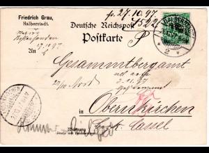 DR 1897, 5 Pf. m. perfin Firmenlochung auf Firmen Karte v. Halberstadt