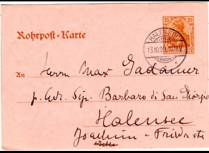 DR 1909, 25 Pf. Rohrpost Ganzsache m. Stpl. HALENSEE