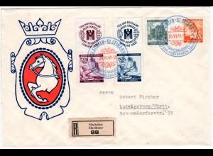 Böhmen u. Mähren 1941, 4 Marken auf Reko Sonderumschlag v. SLATINIAN
