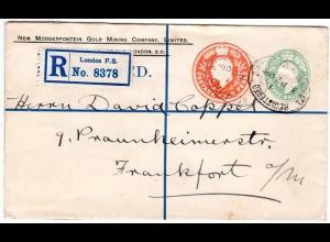 GB 1908, 1/2+4d Doppelwertstempel Einschreiben Privatganzsache Brief v. London