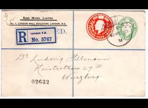 GB 1910, 1/2+4d Doppelwertstempel Einschreiben Privatganzsache Brief v. London