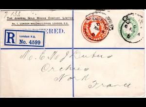 GB 1911, 1/2+4d Doppelwertstempel Einschreiben Privatganzsache Brief v. London