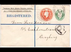 GB 1906, 1/2+4d Doppelwertstempel Einschreiben Privatganzsache Brief v. London