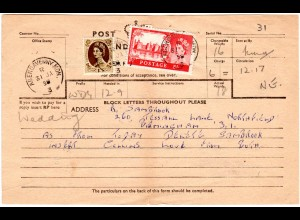 GB 1958, 5+1 Sh. auf Telegramm Formular v. ABERGAVENNY. MON.