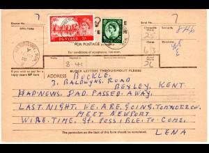 GB 1958, 5+1`3 Sh. auf Telegramm Formular v. ABERGAVENNY. MON.