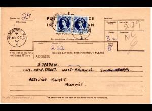 GB 1957, Paar 1´6 Sh. (Höchstwert!) auf Telegramm Formular v. ABERGAVENNY. MON.