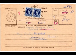 GB 1958, Paar 1´6 Sh. (Höchstwert!) auf Telegramm Formular v. CRICKHOWELL.