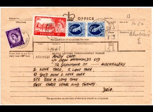 GB 1958, 5+Paar 1´6 Sh.+3d auf Telegramm Formular v. CRICKHOWELL.