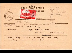GB 1958, EF 5 Sh. auf Telegramm Formular v. ABERGAVENNY.