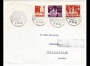 Schweden 1953, 3 Marken auf Schiffspost Brief NewYork-Göteborg M/S Kungsholm