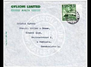 Malta 1938, 1/2d auf Firmen Umschlag Gulsons v. Valetta i.d. Tschechoslowakei
