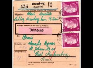 DR 1942, 20+4x40 Pf. vorder- u.rückseitig auf Ostmark Paketkarte v. Wurmberg