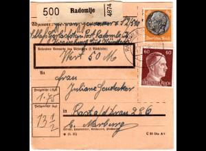 DR 1942, 15+60+100 Pf. vorder- u. rückseitig auf Ostmark Paketkarte v. RADOMLJE