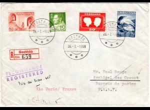 Grönland 1969, 4 Marken auf Einschreiben Brief in d. französ. Antarktikgebiete!
