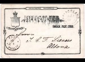 Helgoland 1888, 10 Pf. Ganzsache n. Altona. Rücks. Cachetstpl. Helmers Pavillon
