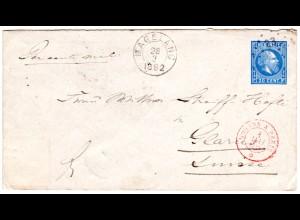 NL Indien 1892, 20 C. Ganzsache Brief v. Magelang n. Glarus, Schweiz