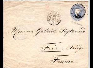 GB Post i.d. Türkei 1893, 40 Pa./2 1/2d Ganzsache v. BPO Stamboul n. Frankreich