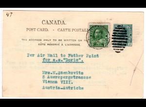 Kanada 1928, 2 C. auf 2 C. Ganzsache n. Österreich per Air Mail to Father Point