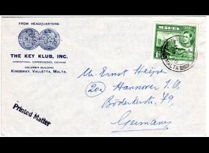 Malta 1948, 1d auf Firmen Umschlag The Key Club n. Deutschland