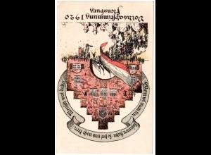 Schleswig 1929, Volksabstimmung Flensburg, ungebr. Farb-Karte m. 15 Pf. Marke
