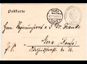 DR 1914, portofreie Postsache d. Kaiserl. Dt. Telegraphenamt GERA