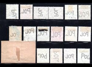 DR, 17 Marken m. POL Lochungen, davon 1 auf Briefstück.