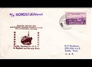 US-GB-Norway 1935, M/S NORDSTJERNAN ship mail cover with London Paquebot Stpl.