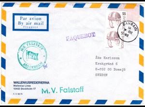Schweden 1982, Paar 55 öre auf M/S FALSTAFF Schiffspost Brief m PAQEUBOT BAHRAIN