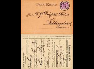 DR 1888, 5 Pf. auf Firmen Karte v. BREMEN 1e n. Eibenstock, Sachsen