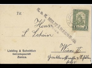 Bosnien, EF Mi. Nr.97 auf Postkarte v. Zenica m. Zensur n. Wien. Bedarf! #2537