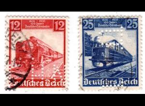 DR, 12+25 Pf. Dt. Eisenbahn je m. perfin Firmenlochung