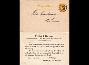 Norwegen 1892, 3 öre Orts Ganzsache m. rücks. Zudruck Filipinske Tobakskompani