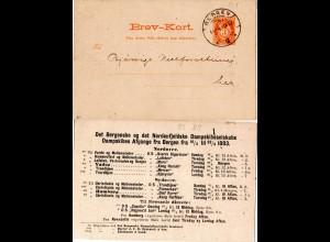 Norwegen 1893, 3 öre Orts Ganzsache m. rücks. Zudruck Nordenf. Dampskibsselskab