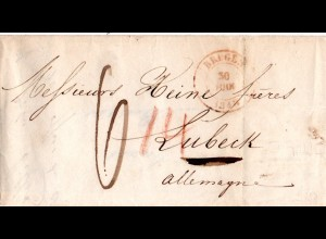 Belgien 1843, Porto Brief v. BRUGES n. Lübeck m. rs. T.T. HAMBURG