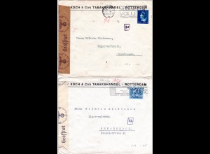 NL 1940, 2 Tabakhandel Firmen Briefe v. Rotterdam, jeweils m. Köln WK II-Zensur