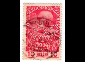 Österreich, 10 H. Kriegswaisenhilfe m. Firmenlochung K.& F. u. Stpl. Mödling