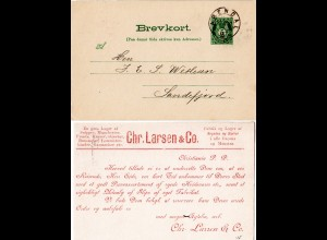 Norwegen 1899, 5 öre Ganzsache m. Christiania Reise Avis u. Stpl. ARENDAL
