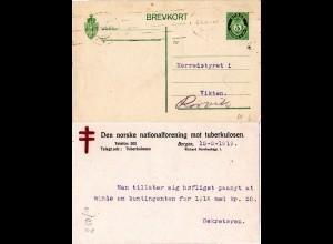 Norwegen 1919, 5 öre Ganzsache v. Bergen m. rücks. Tubekulose Hilfe Zudruck
