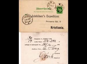 Norwegen 1898, 5 öre Ganzsache v. Gjövig m. Weihnachten Zudruck Julehilsen