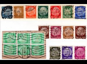 DR, 20 Marken m. POL Lochungen, dabei Briefstück m. 6er-Block