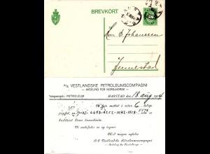 Norwegen 1914, 5 öre Ganzsache v. HARSTAD m. Zudruck Vestl. Petroleumscompagni