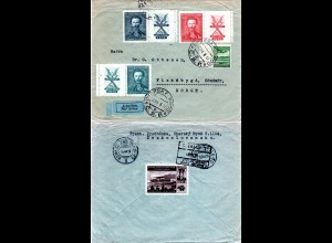 Tschechoslowakei 1938, 4 Marken auf Luftpost Brief v. Uhersky Brod n. Norwegen