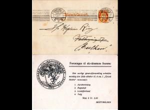 Norwegen 1907, gebr. 3 öre Ganzsache m. rs. Zudruck Ski Jäger m. Bogen