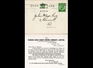 GB 1912, 1/2d Ganzsache m. rücks. Zudruck Wassau Gold Coast Mining Company