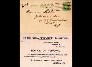 GB 1910, 1/2d Ganzsache m. rücks. Zudruck The Oil Trust Ltd.