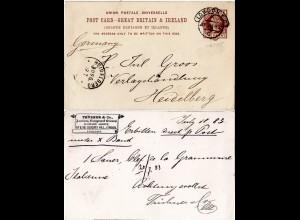 GB 1883, 1d Ganzsache m. rücks. Zudruck d. Trübner Literary Agency