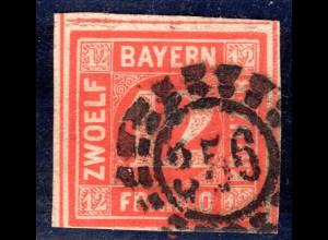 Bayern 6, 12 Kr. rot, voll-/breitrandigesStück m. fast zentr. Stempel